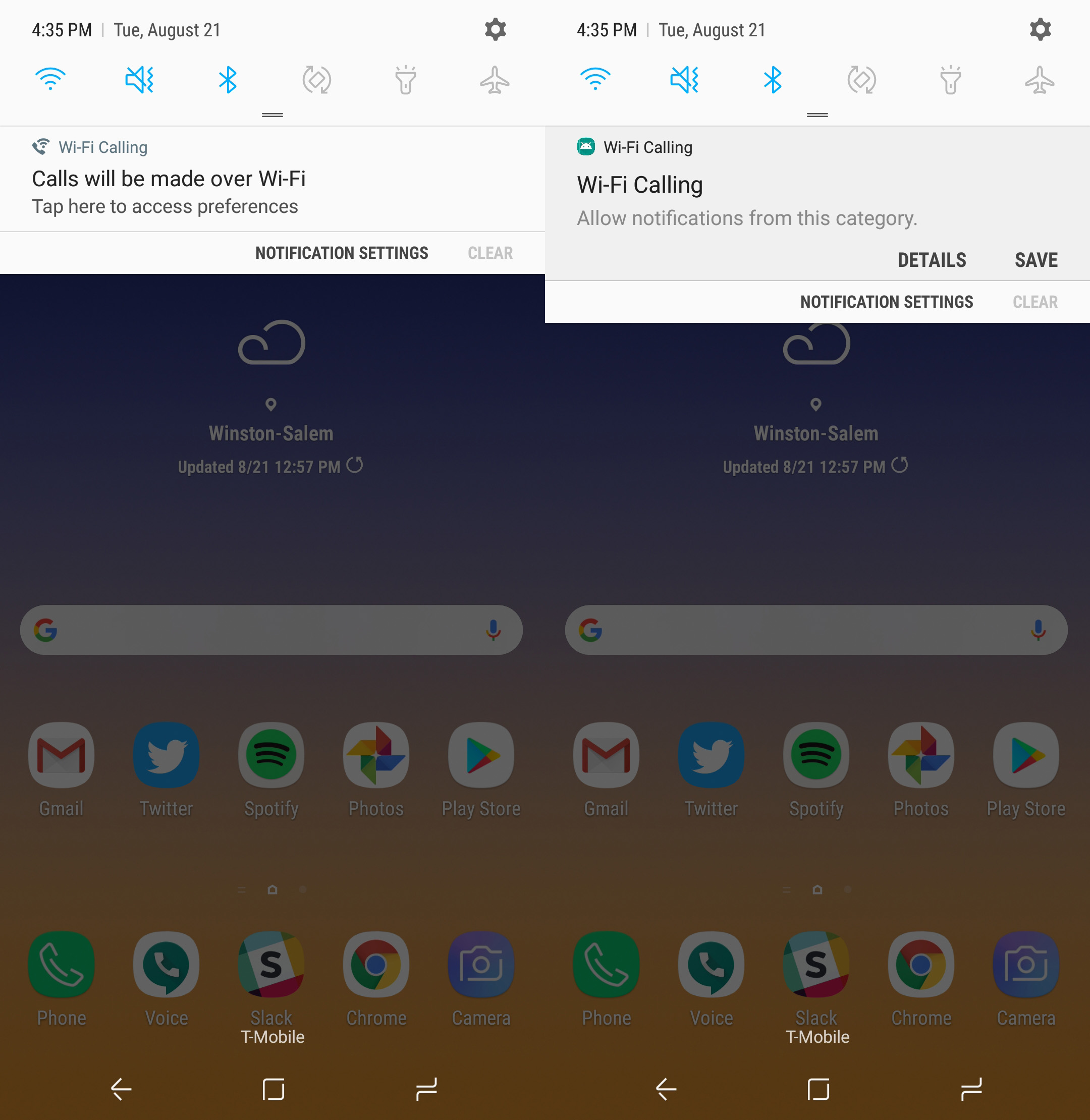How to hide the Wi-Fi calling notification on Samsung devices
