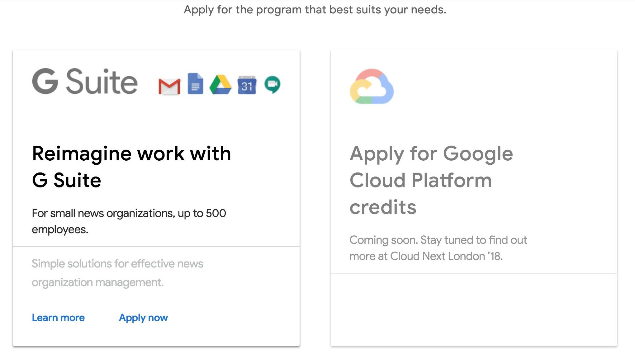 Google News Initiative Cloud Program