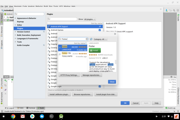 Flutter on Chrome OS Android Studio plugins