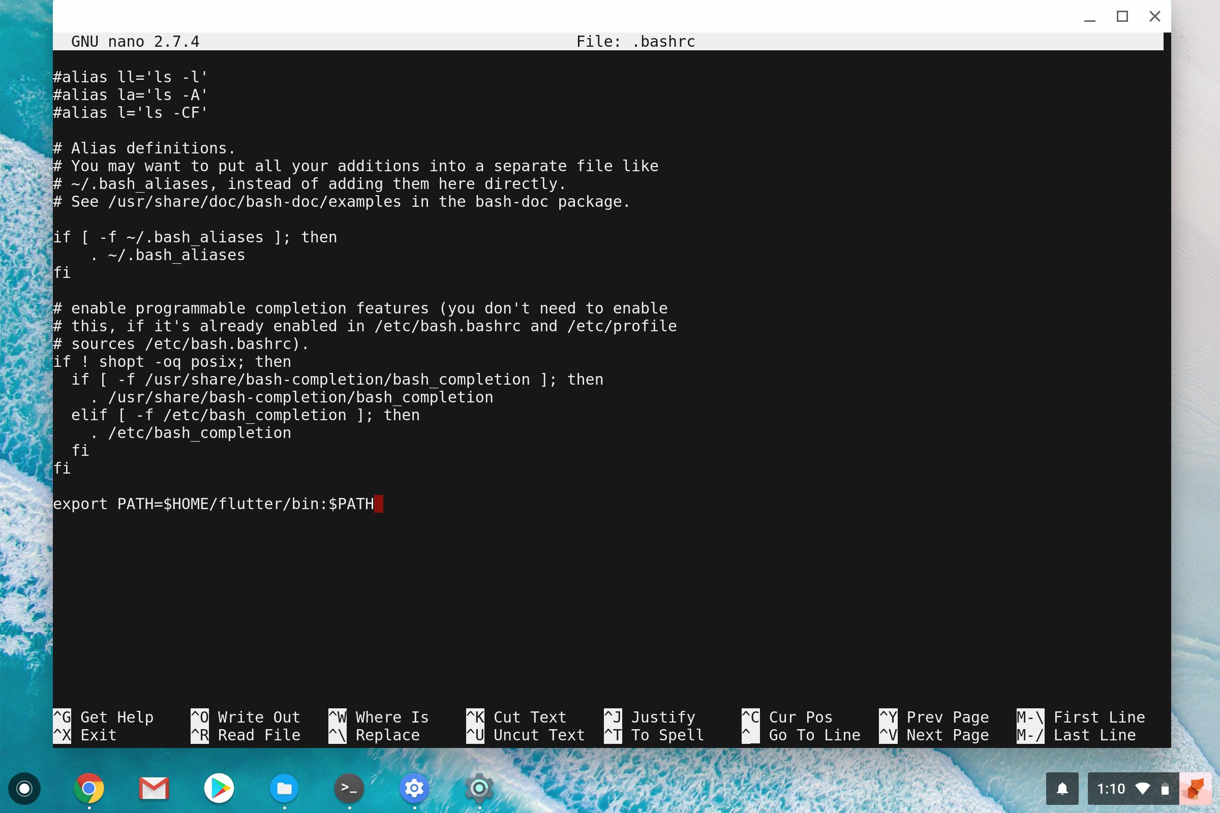 How to install Google's Flutter app dev SDK on Chrome OS