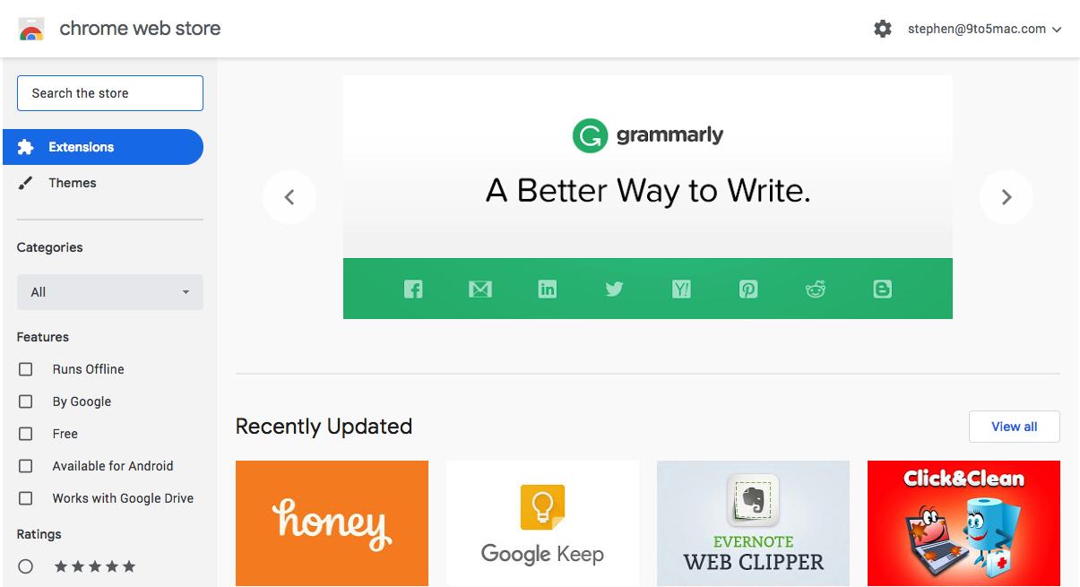 Chrome Web Store gets the Google Material Theme treatment alongside