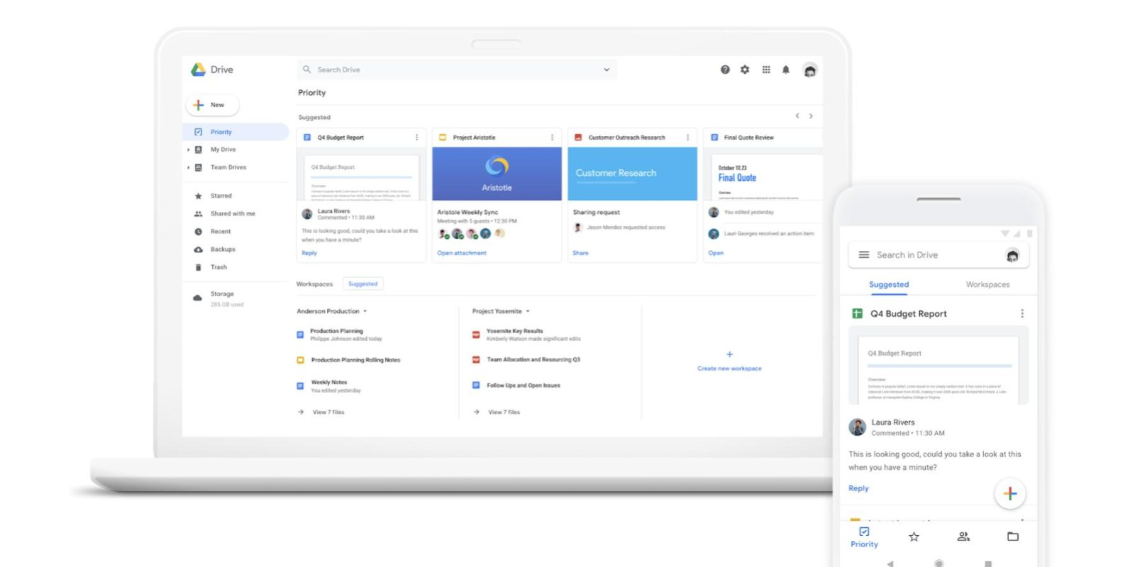 Google Drive 'Priority' page and 'Workspaces' rolling out to all G Suite editions