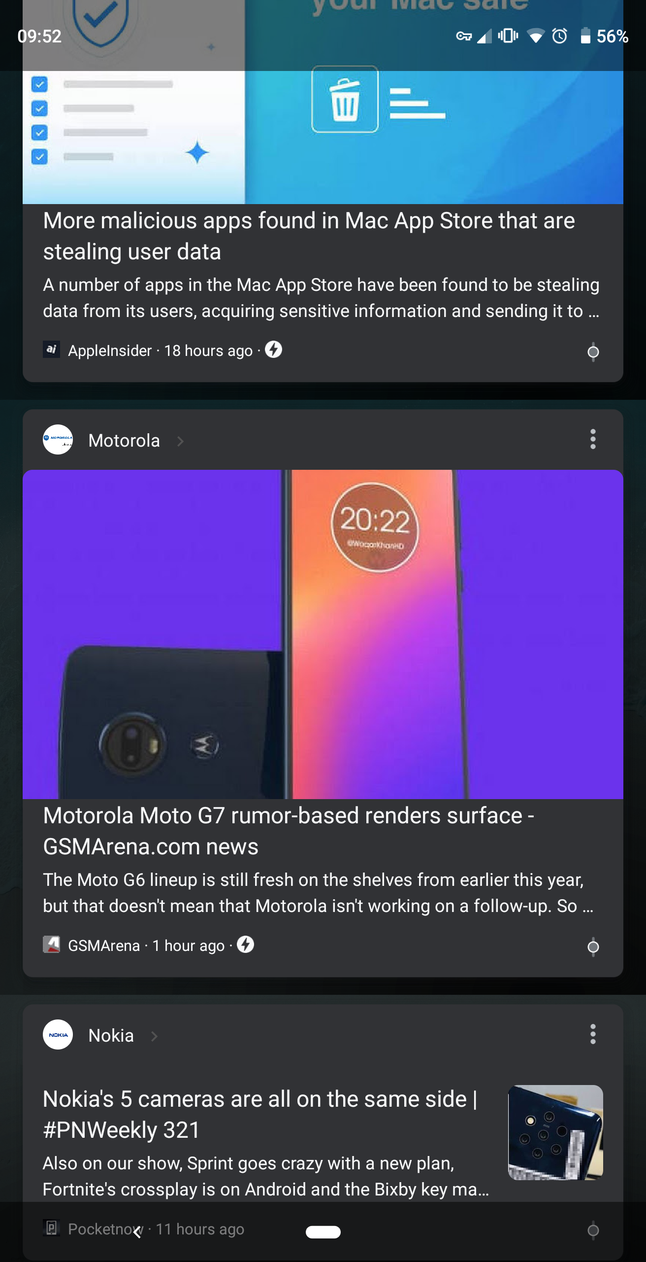 google testing a dark theme for the google feed including on non