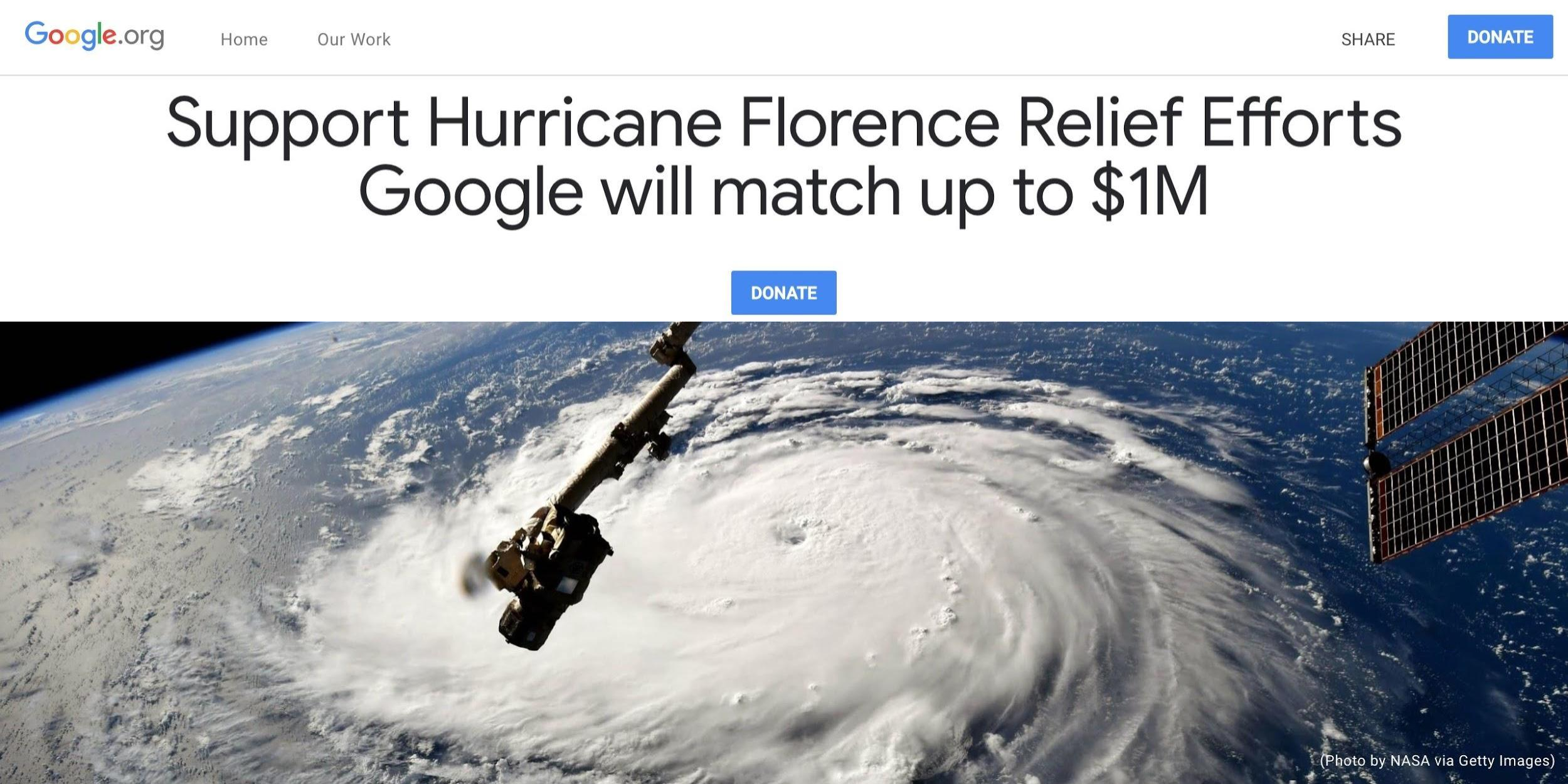 google donating up to 2 million for hurricane florence typhoon mangkhut recovery