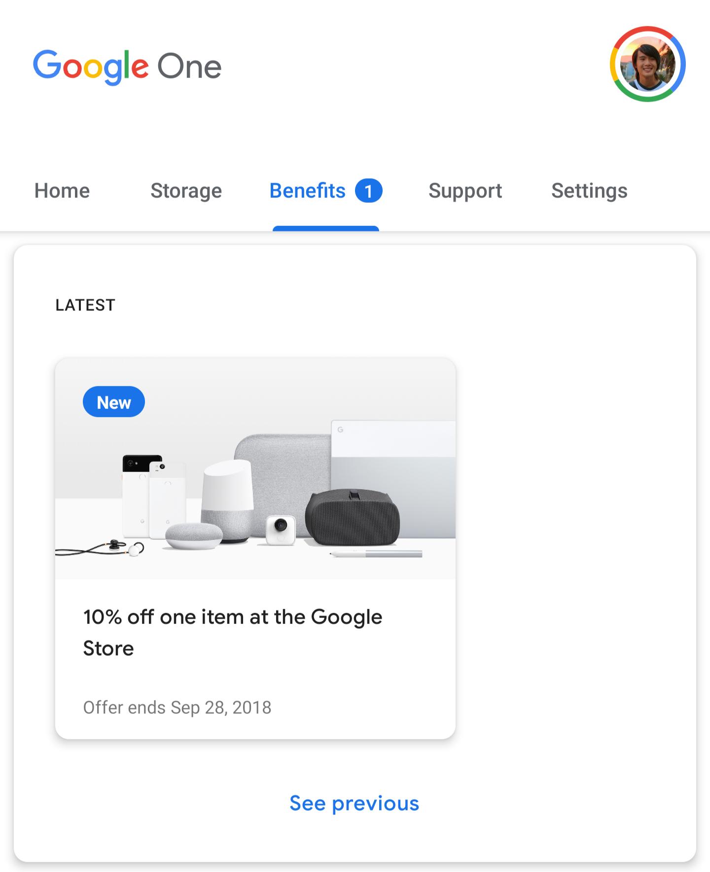 Google One offering 10% Store discount on Pixel 2, Pixelbook