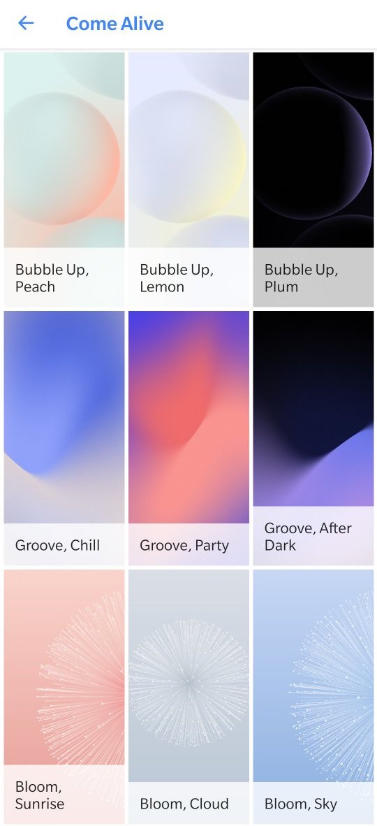 Come Alive' and 'Living Universe' wallpapers from the Google