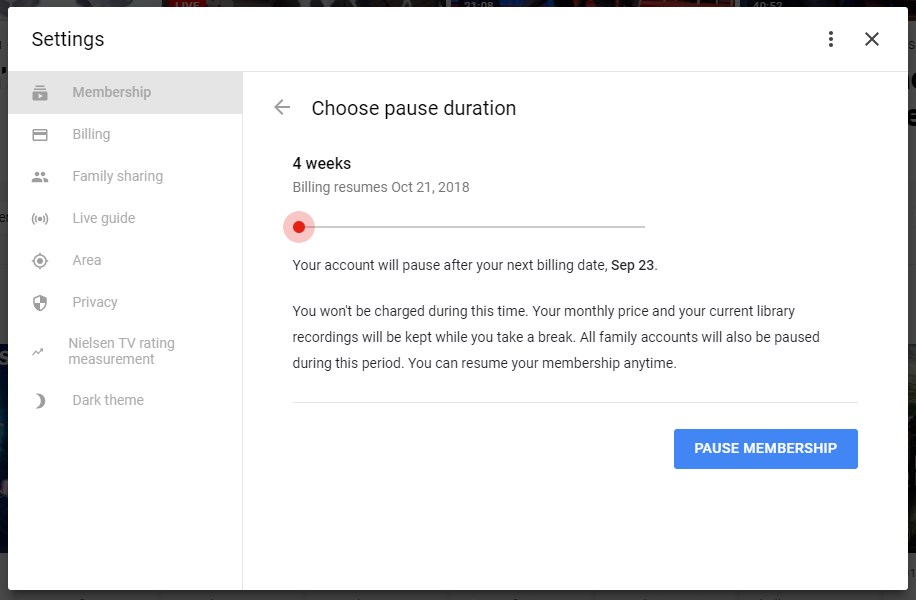 you can now pause your youtube tv membership for up to 6