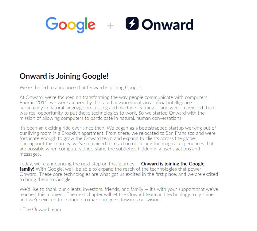 Google + Onward announcement