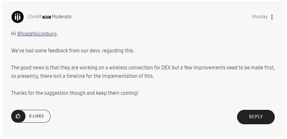 Wireless Samsung DeX confirmed?