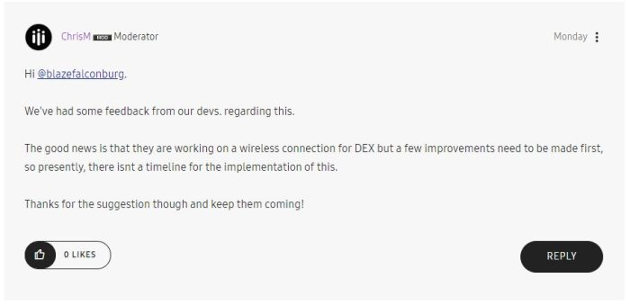 Wireless Samsung DeX confirmed?