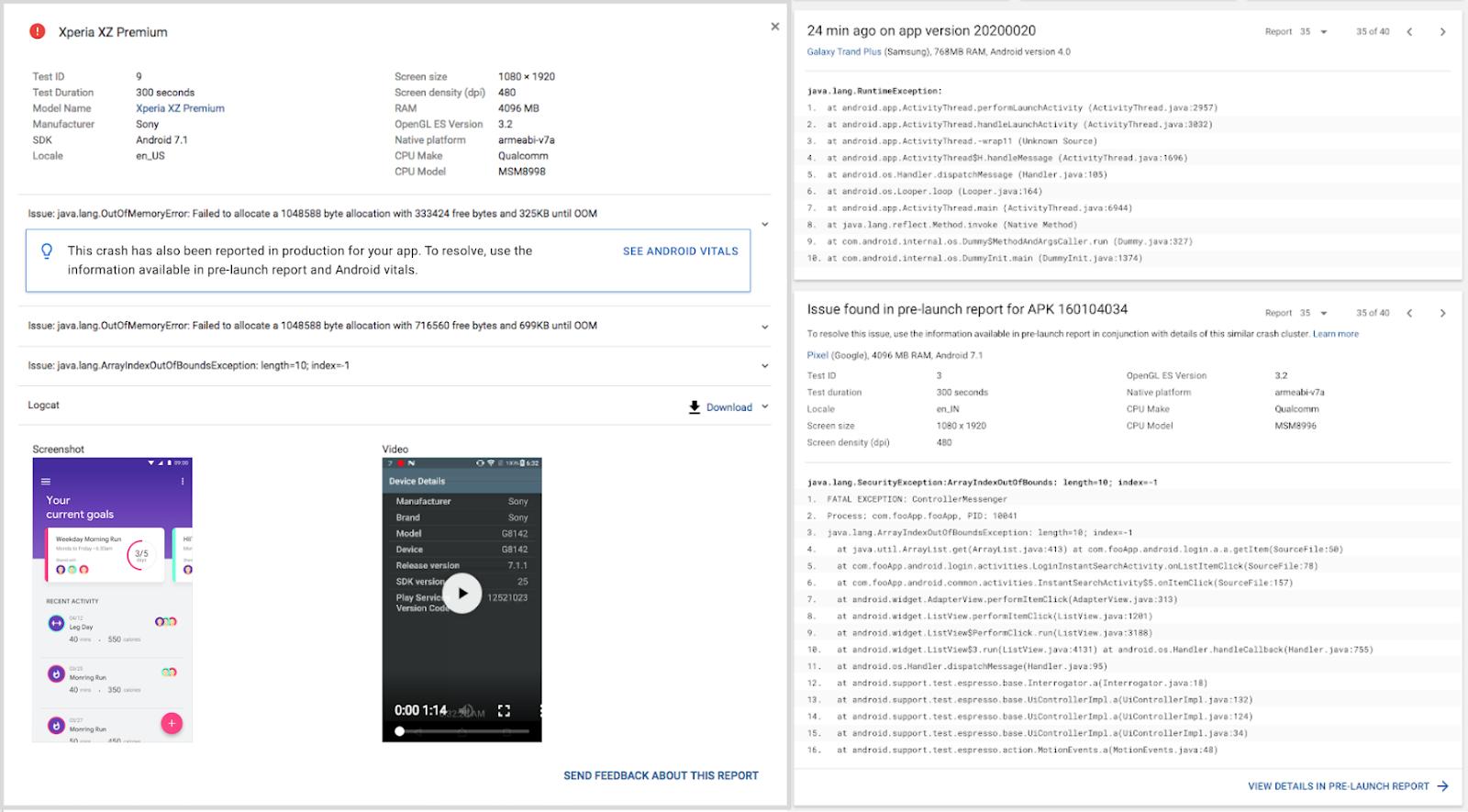 Android Vitals crash report