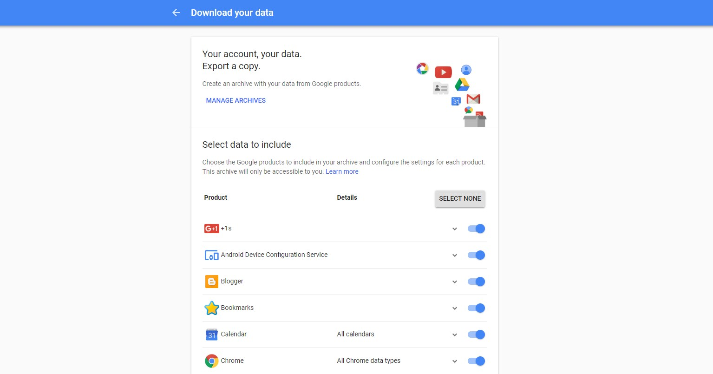 download google+ data
