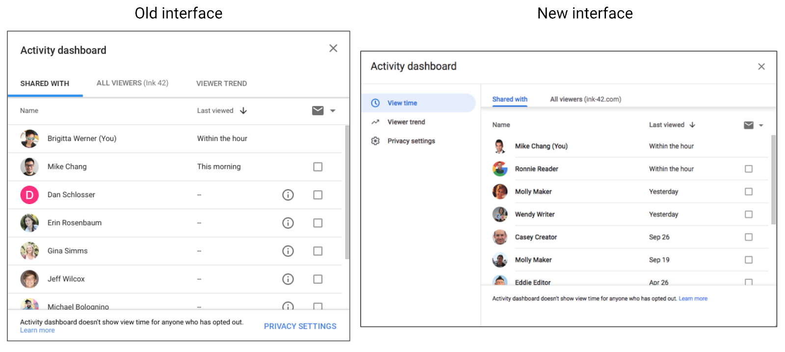 Google Docs activity dashboard updated w/ Material Theme