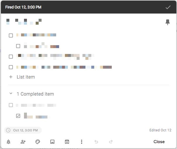 Google Keep Notes Material Theme checklist
