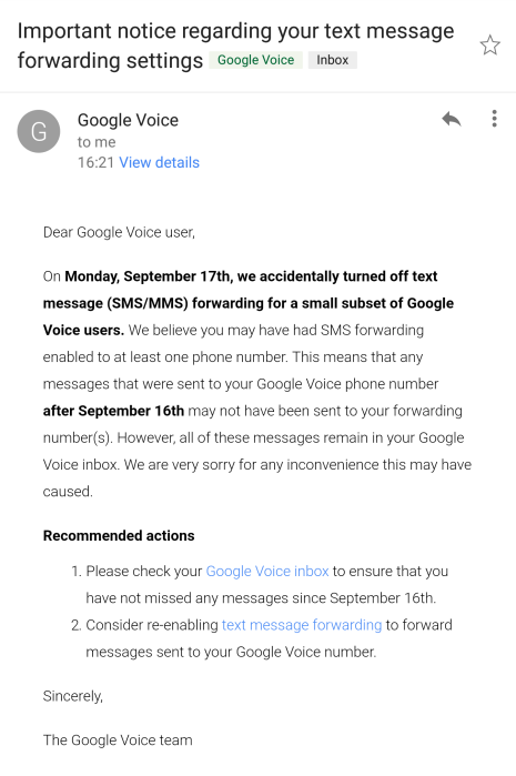 Google Voice text forwarding