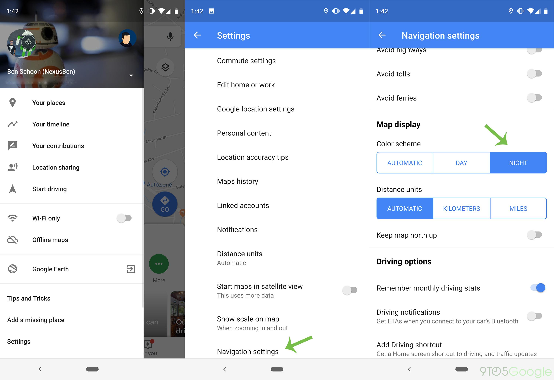 So erzwingen Sie den dunklen Modus in der Google Maps-Navigation für Android