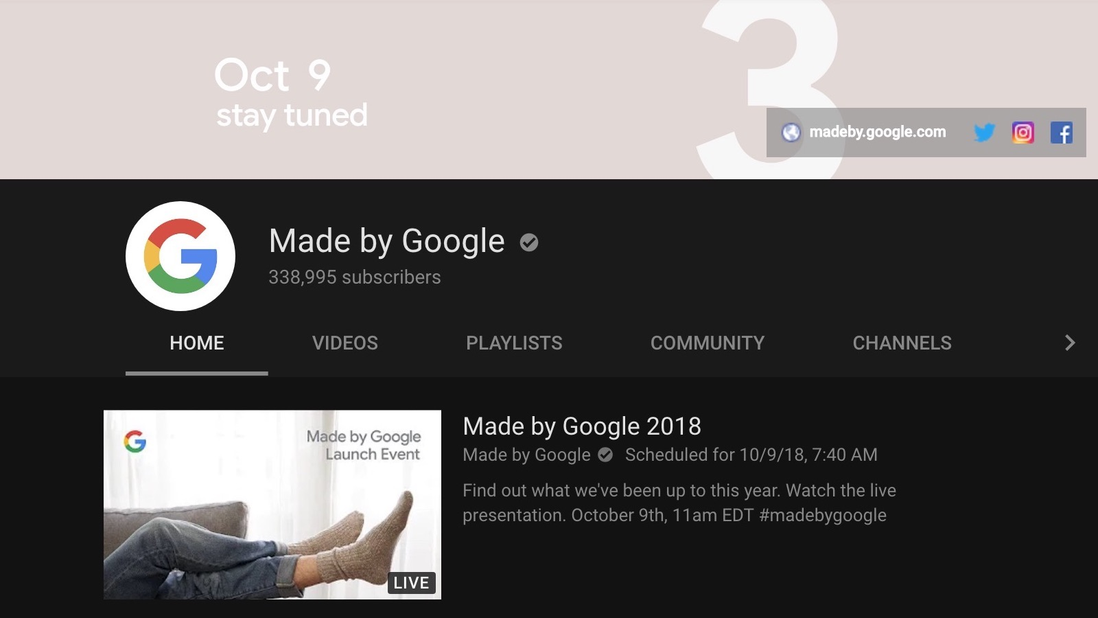 Update Starting Soon Watch Made By Google S 2018 Launch Event For The Pixel 3 Home Hub Livestream