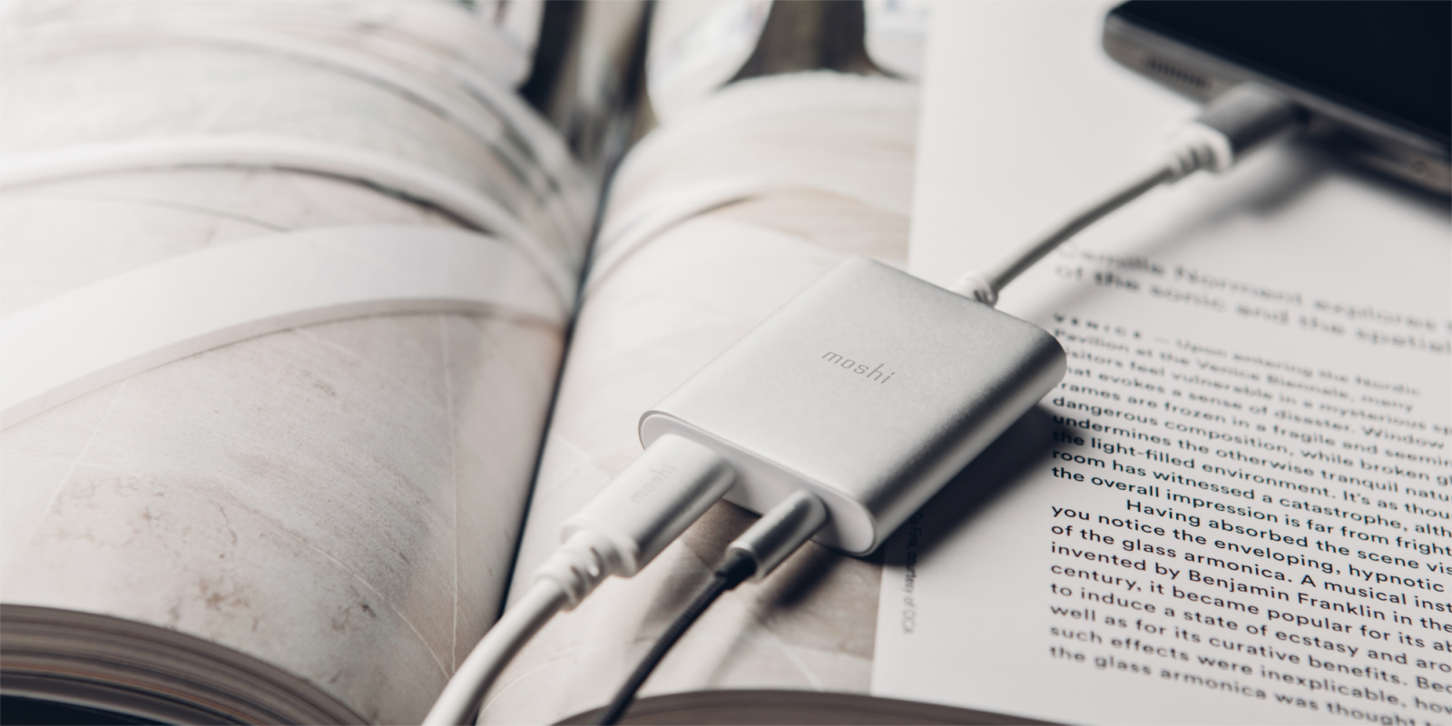 moshi reveals new made for google usb c audio charging adapter