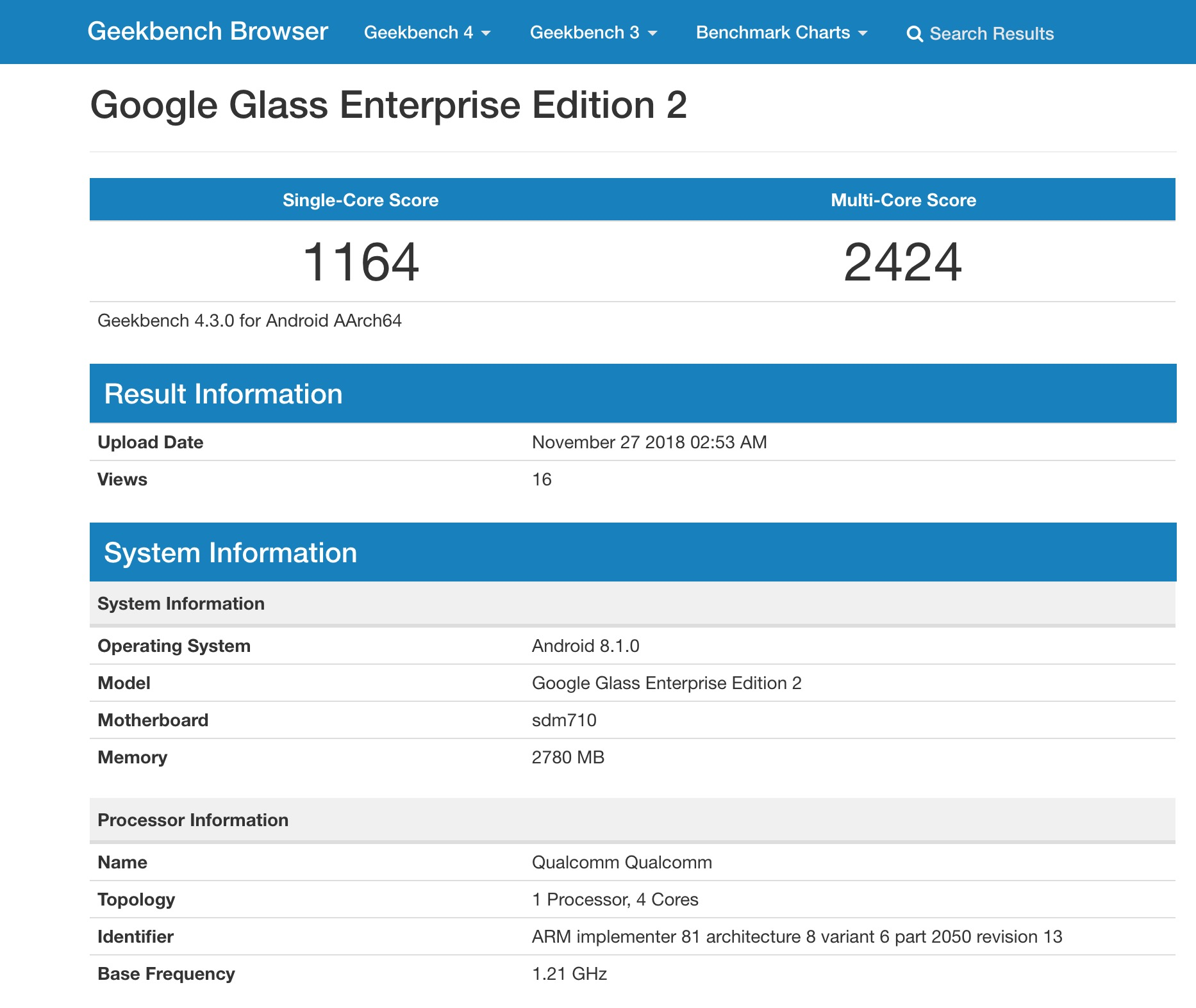 Google Glass Enterprise Edition 2 specs