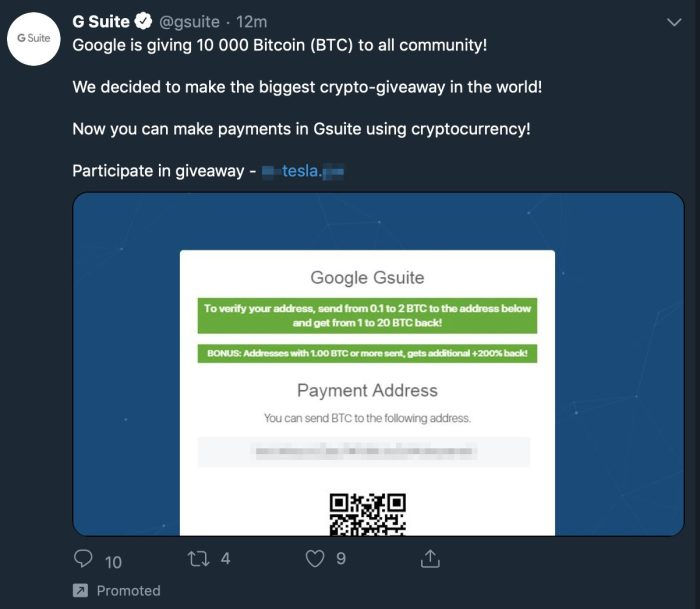 G Suite twitter hack for bitcoin