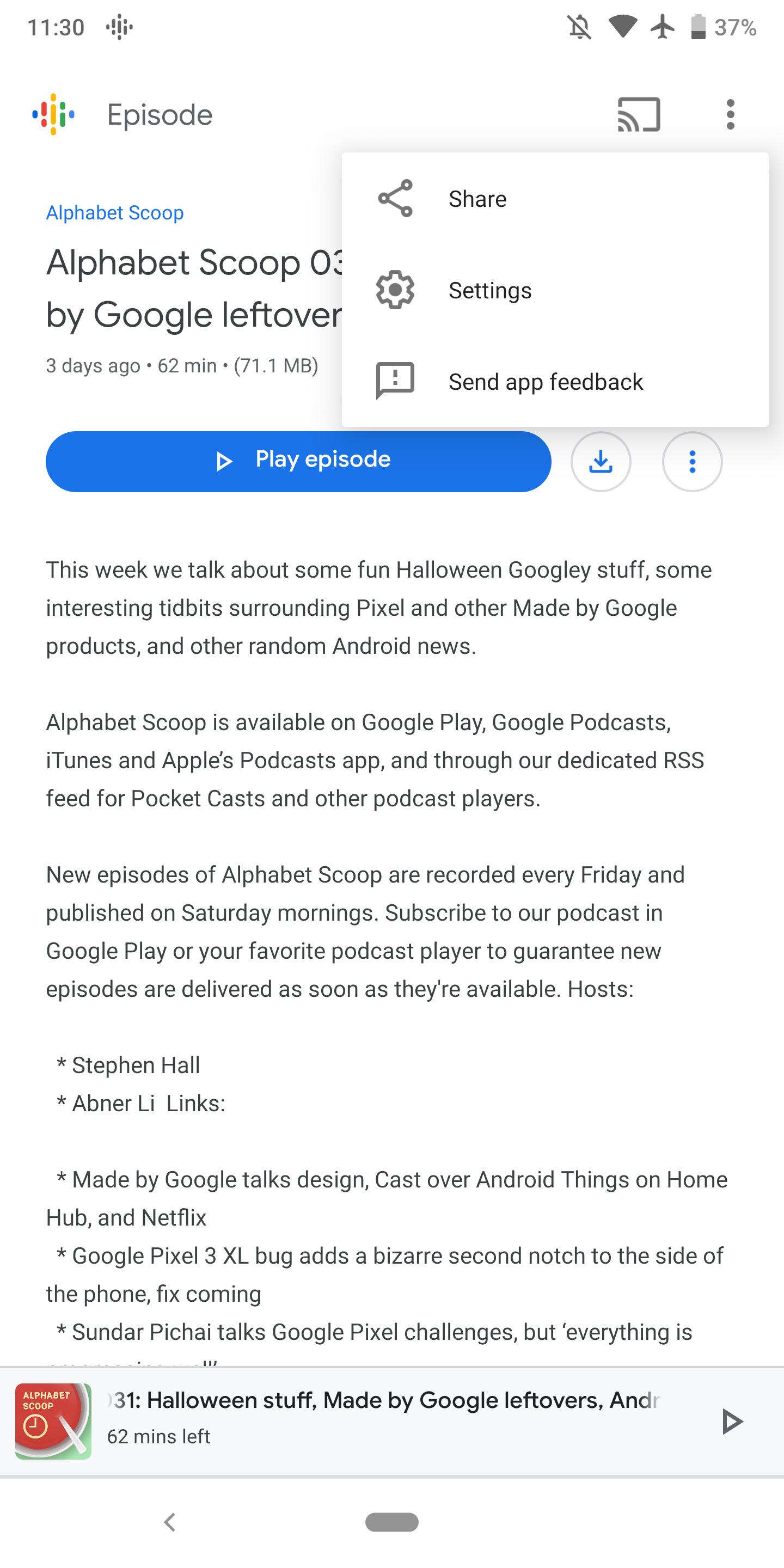 Google Podcasts for Android now lets you share episodes and