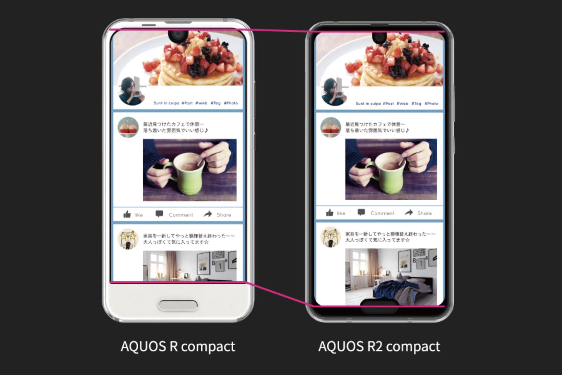 Sharp Aquos R compact & Aquos R2 compact comparison