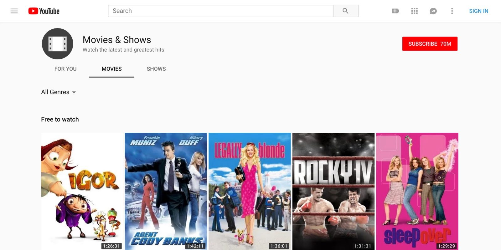 good quality movies on youtube