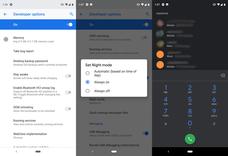android dark mode night mode setting