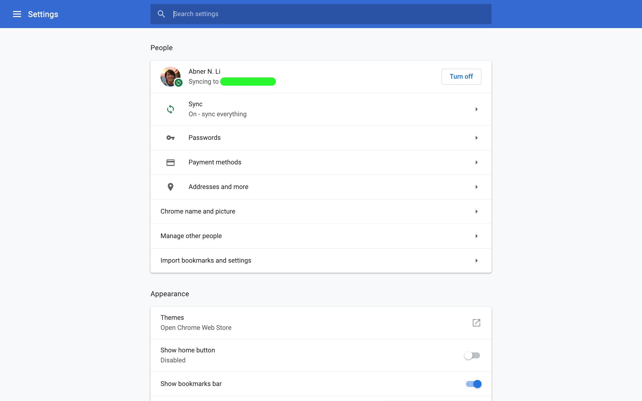 google chrome windows settings