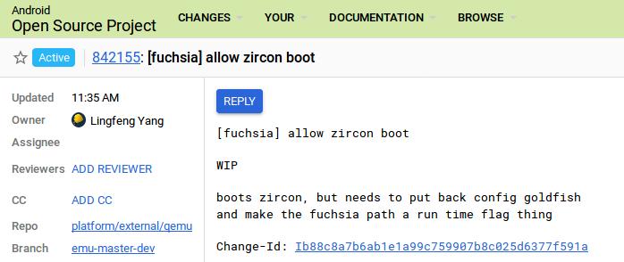 Android Emulator Fuchsia Zircon