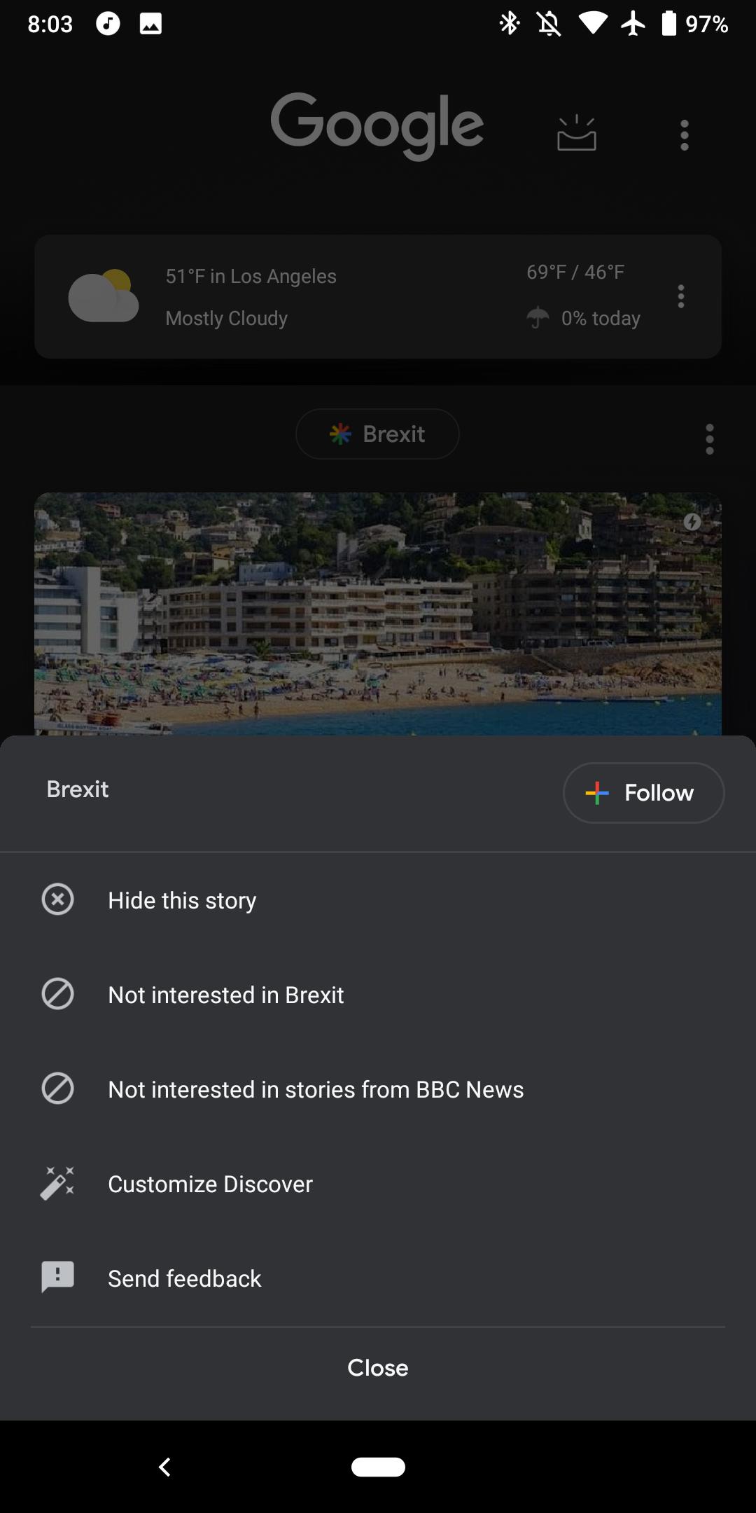 Update: Non-beta users] Google Discover w/ Pixel Launcher dark theme
