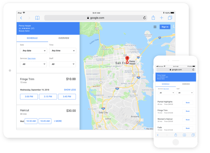 Square Appointments Reserve with Google