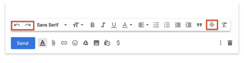 Gmail adding undo/redo & strikethrough shortcuts in Compose