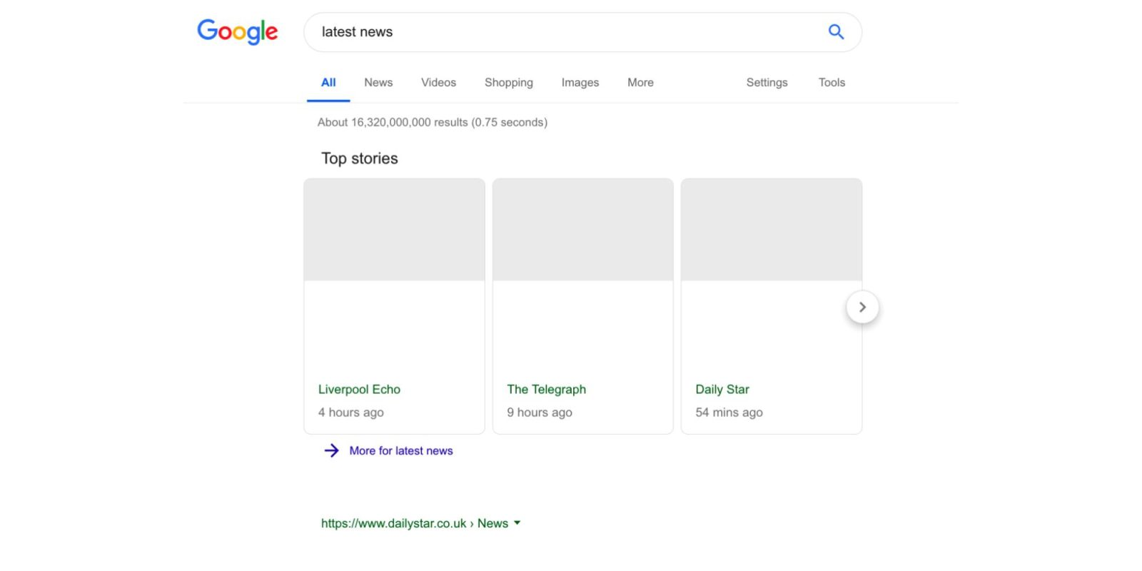 Google Search testing news results with no snippets