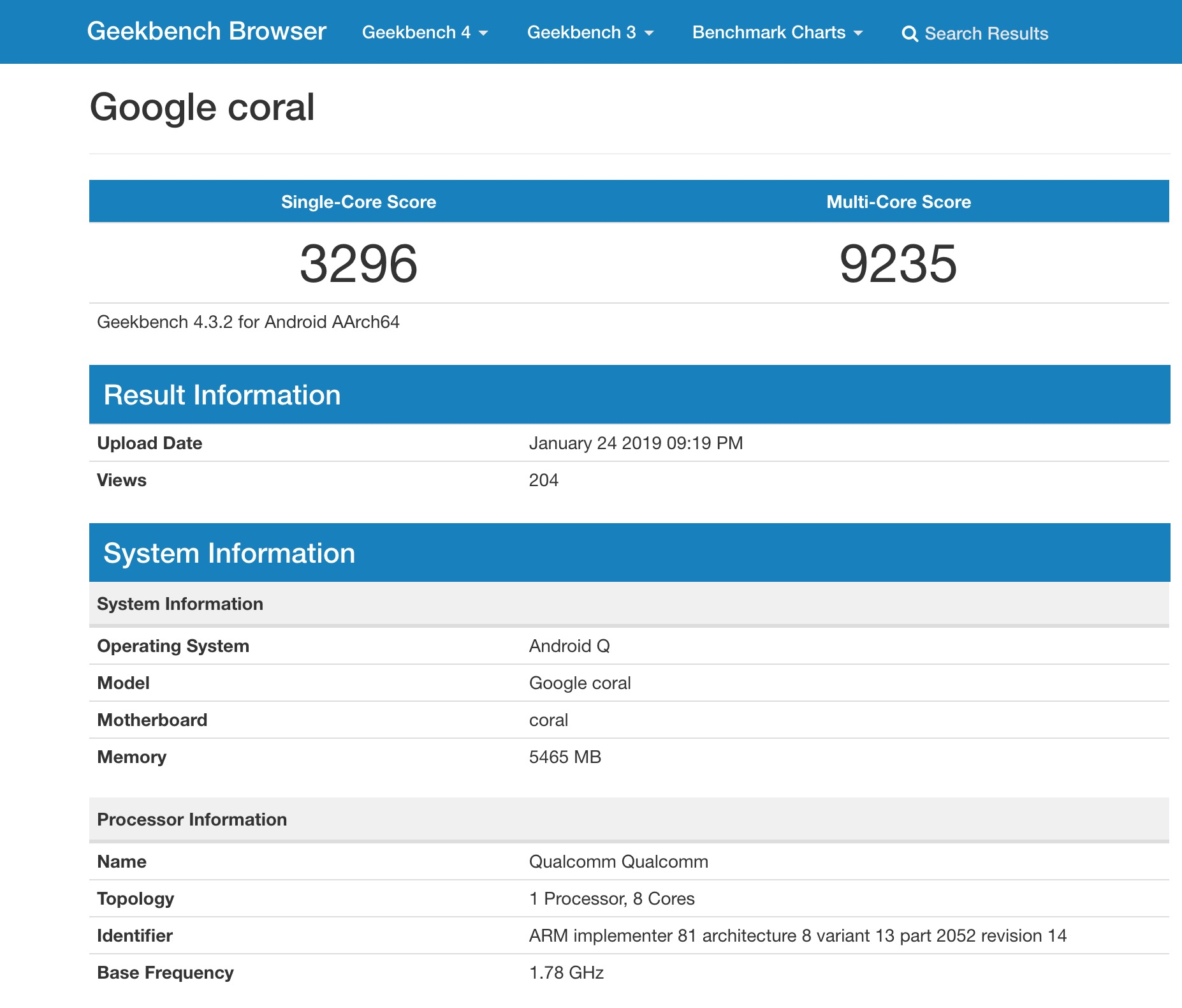 Google coral benchmark Android Q