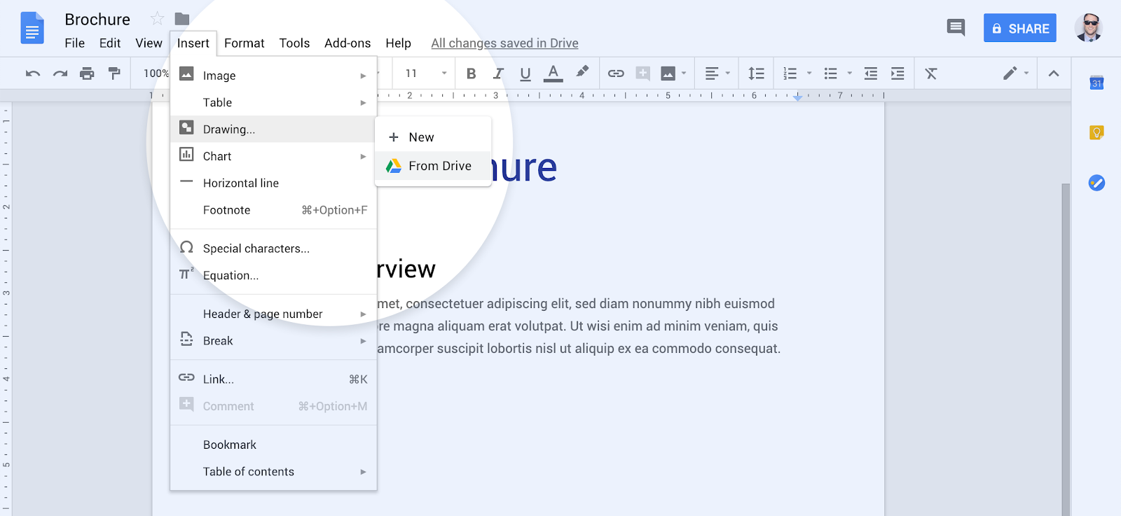 Google Drawings Docs embed