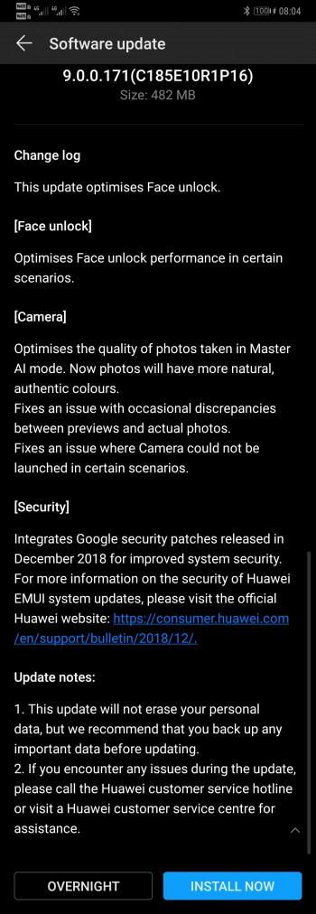 Huawei Mate 20 Pro update improves face unlock, camera