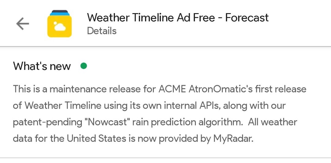 Weather Timeline new data developers