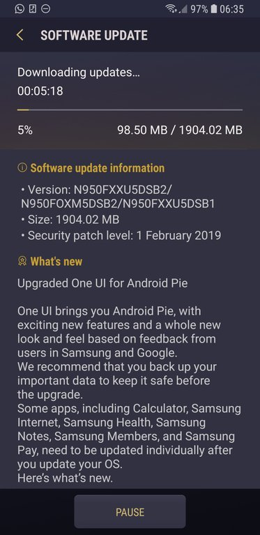 Samsung Galaxy Note 8 Android Pie Europe