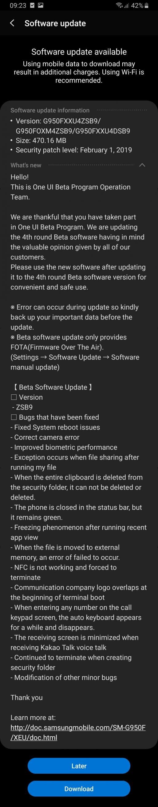 Samsung Galaxy S8 Android Pie beta update four
