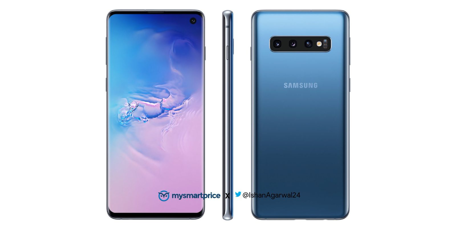 Samsung Galaxy S10 leaks in slick blue color variant as banner confirms another year for the headphone jack