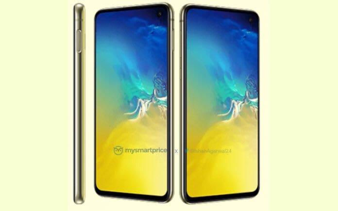 Samsung Galaxy S10e Canary Yellow press render