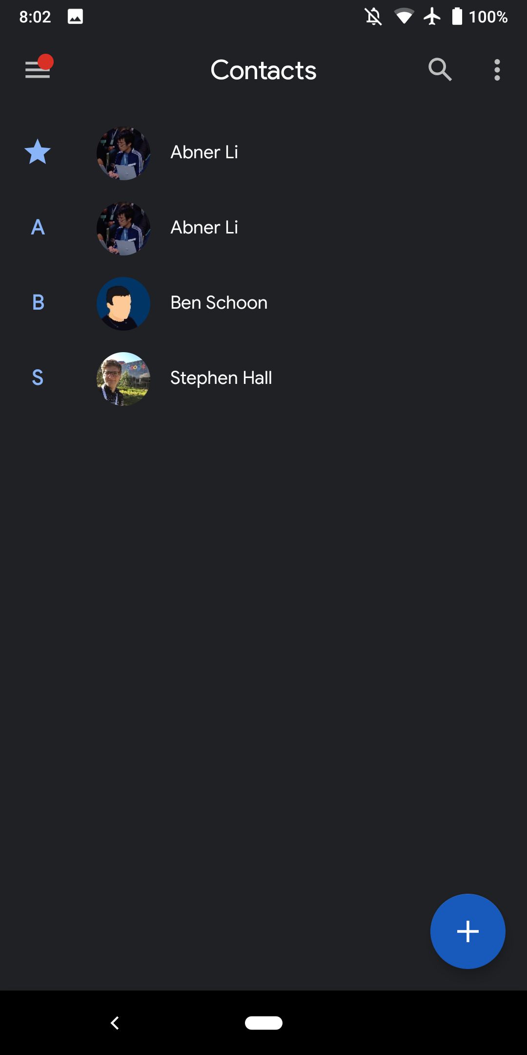 Google Contacts for Android updated with Material Theme account
