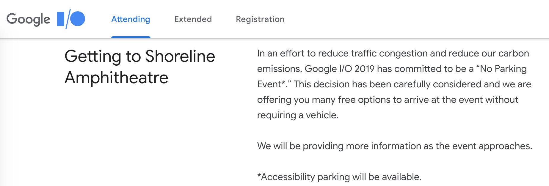 Google I/O 2019 no parking