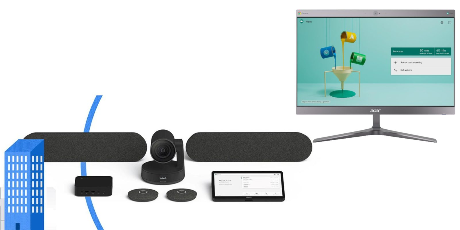 Google announces Hangouts Meet hardware bundles from Logitech, new Acer Chromebase