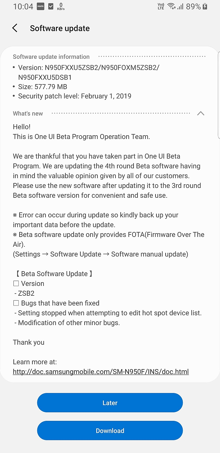 Samsung Galaxy Note 8 Android Pie beta