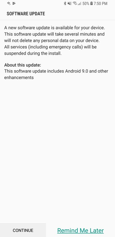 AT&T and T-Mobile Galaxy S8, S8+, Note 8 Android Pie update