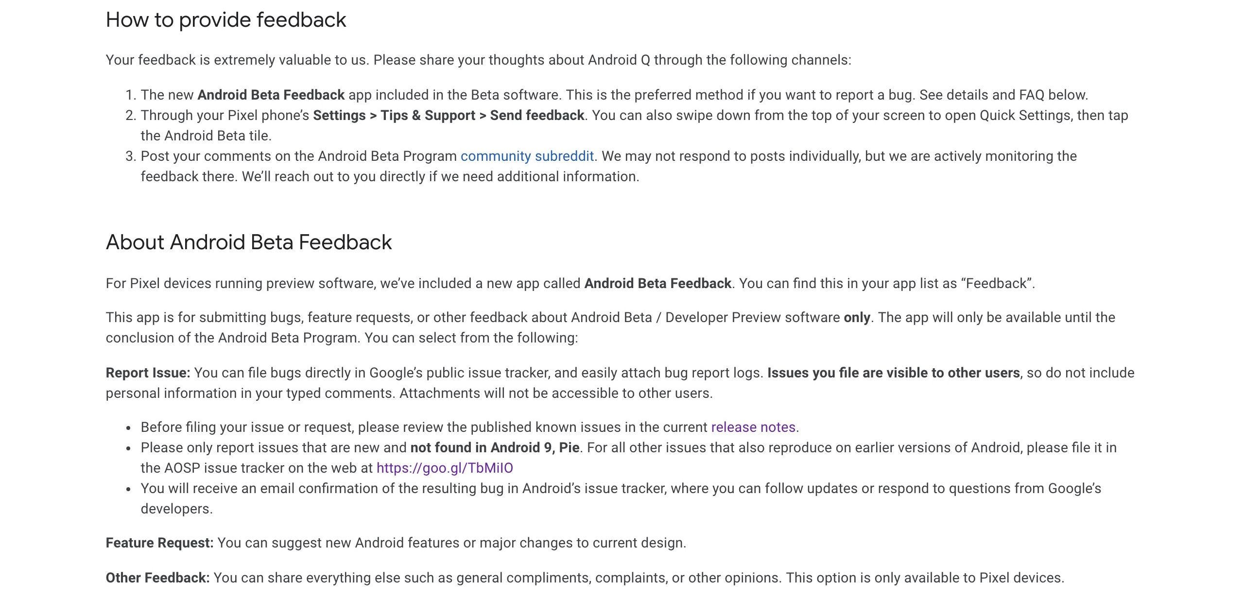 Android Beta Feedback app