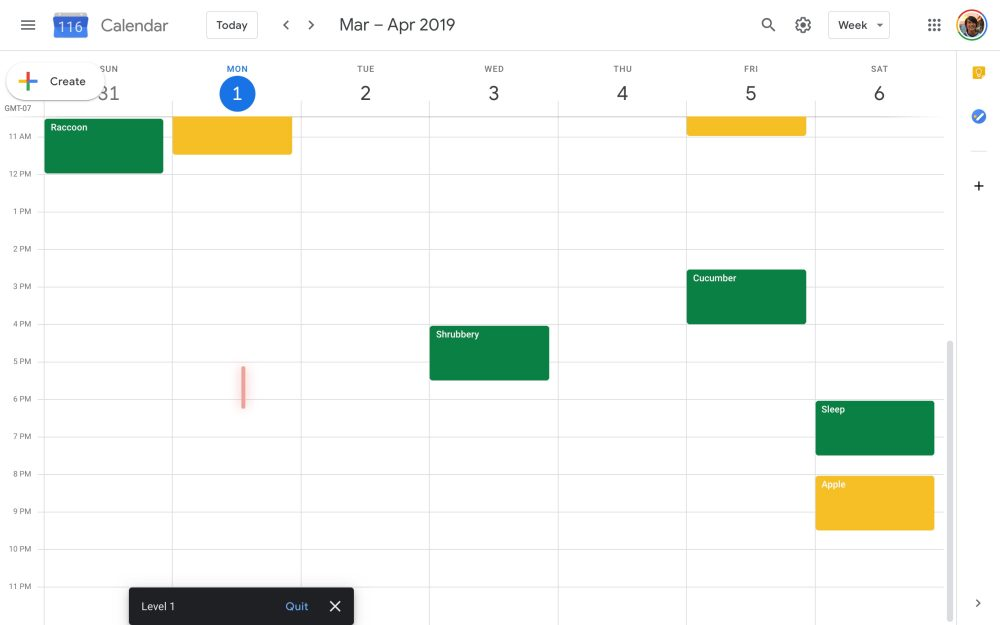 Google Calendar Space Invaders