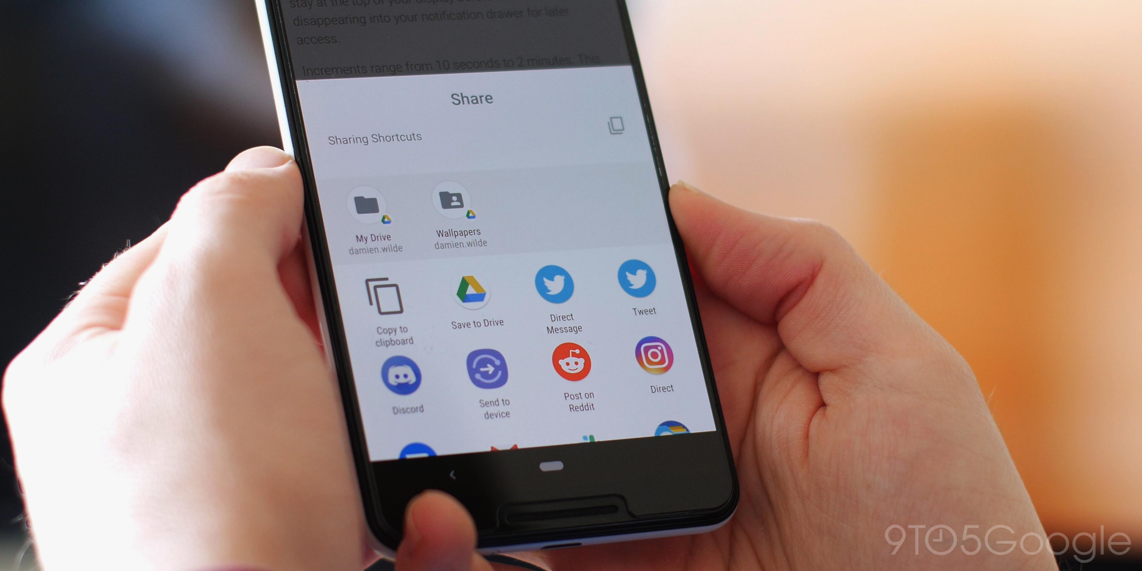 Sharing Shortcuts Android Q Beta 1